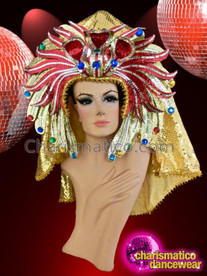 CHARISMATICO Royal Egyptian Crown Style Golden Appealing Glamour Diva'S Headdress