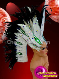 CHARISMATICO Stunning Silvery White And Black Rhinestone Setting Glitter Diva Headdress