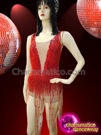CHARISMATICO Sexy red asymmetrical hemline beaded glamour queen diva dance dress