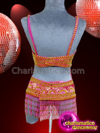 CHARISMATICO Attractive pink and orange beaded embroidery bra and thong combo set