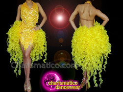 CHARISMATICO Long Yellow Sleeveless Drag Diva Queen'S Halter Neck Chiffon Tail Dress