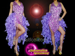 CHARISMATICO Shiny Violet Sequin Backless Gorgeous Diva Leotard Dress With Frills