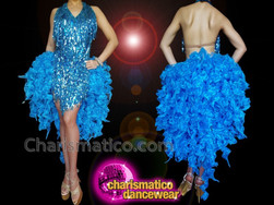 CHARISMATICO Attractive blue fur and chiffon sequin floral patterned knee length back tail dress