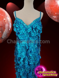 CHARISMATICO Sexy Aqua Marine Blue Floor Sweep Glamour Drag Queen Sequin Gown