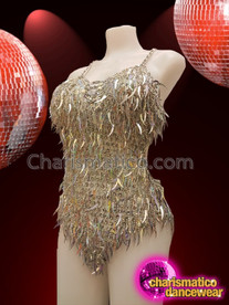 CHARISMATICO Lustrous Gorgeous Silver Backless Halter Style Latin Dance Leotard