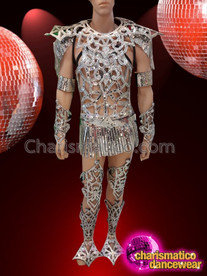 CHARISMATICO Silver Shining Radiant Glorious Remarkable Powerful Armor Costume Set