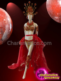 CHARISMATICO Sexy Shimmering Showgirl Costume Set