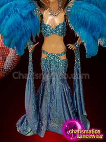 CHARISMATICO Magnificent Feathered Side Slit Costume Set