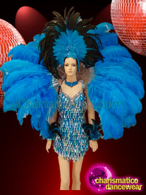 CHARISMATICO Glittering queen's feathered blue and silver sequin costume set