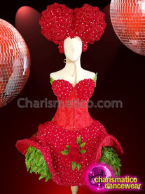 CHARISMATICO Glamorous Drag Queen'S Sexy Knee Length Strapless Costume With Headdress
