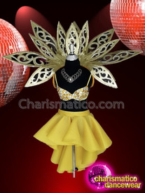 CHARISMATICO Metallic Gold Bra And Skirt Dance Diva Costume Set With Backpack