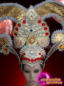 CHARISMATICO Horned golden dance diva's rhinestone embedded headdress