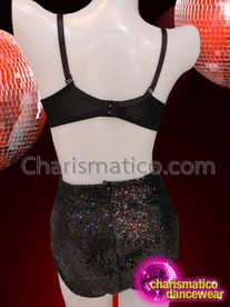 CHARISMATICO Stunning Rainbow Sequined Black Bra Top And Short Hot Pants