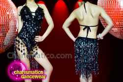 CHARISMATICO Awesome black asymmetrical fringe sexy diva's stylish leotard dress