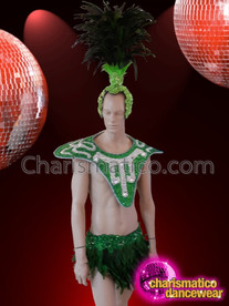 CHARISMATICO feathered dance diva queen's neck gear cum backpack and headdress combo