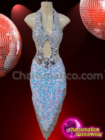 CHARISMATICO Metallic Silver Glamorous Drag Queen Asymmetrical Dress