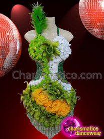 CHARISMATICO Sexy Floral Patterned Green And White Knee Length Dance Costume