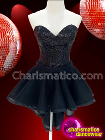 CHARISMATICO super sexy glamorous jet black corset strapless dance queen dress