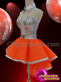 CHARISMATICO Silver And Orange Sexy Thigh Length Drag Queen Dance Costume Skirt