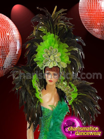 CHARISMATICO Parrot Green Beaded Floor Sweeping Feathered Long Diva Girl Costume