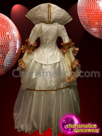 CHARISMATICO royal Victorian style off white satin long diva queen gown with backpack and collar