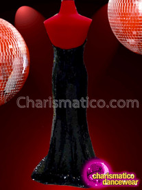 CHARISMATICO long red and black V neck sexy glitter queen beaded gown