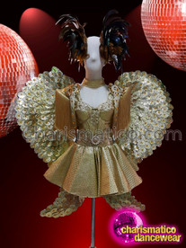 CHARISMATICO Exquisite Grand Short Metallic Gold Costume With Heart Style Wings