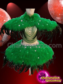 CHARISMATICO Cute Parrot Green Feathered Tree Style Diva Queen Costume With Headdress