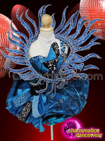 CHARISMATICO Sexy Midnight Blue Thigh Length Sequin Costume With Stone Works