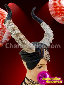 CHARISMATICO Turban Styled Maleficent Inspired Black And White Horn Drag Queen Headdress