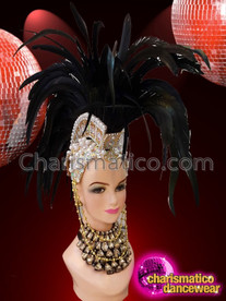 CHARISMATICO Showgirl Black Feathered Mohawk Golden And Silver Beaded Headdress With Crown