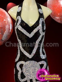 CHARISMATICO Diva's Black And Silver Sequined Halter Type Showgirl Dance Gown