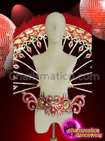 CHARISMATICO Fancy Openwork Red Feather Gold And Silver Crystal Accented Diva Waist Fan Backpack