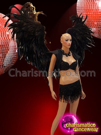 CHARISMATICO Drag Queen's Black Costume Set With Bra, Skirt, Backpack, Neckpiece And a Jacket