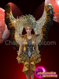 CHARISMATICO Diva'S Golden Costume Set With Huge Golden Feather Wings And Gold Headdress
