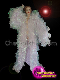 CHARISMATICO Extravagant Elaborate Pure White Drag Queen Bubbly Coat