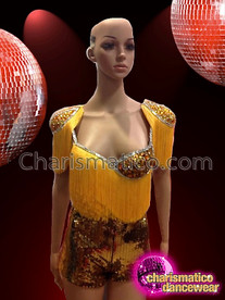 CHARISMATICO Bright Yellow Gorgeous Shiny Dance Dress