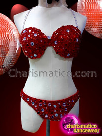 CHARISMATICO Enchanting Red appealing Diva Showgirl Bra and thong