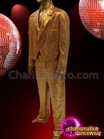 CHARISMATICO Shimmering Gorgeous Striking Men Gold Sequin Costume Set
