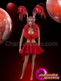 CHARISMATICO Red Ravishing Gorgeous Diva Showgirl Costume Set