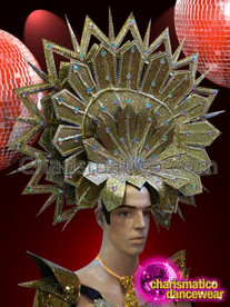 CHARISMATICO Diva'S Gold Warrior Metallic Showtime Headdress With Iridescent Crystal Accents