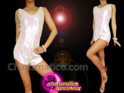 CHARISMATICO Stunning Drag Queen'S Pure White Sequined Showtime Glamorous Short Catsuit
