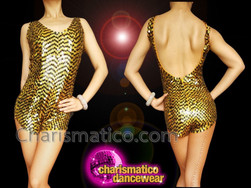 CHARISMATICO Shimmering Gold And Black Sequined Drag Queen'S Showtime Gold Catsuit