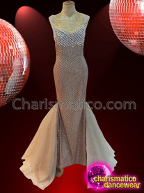CHARISMATICO Magnificent Ravishing Stunning Nude Crystallized Diva Pageant Gown