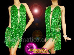 CHARISMATICO Dazzling Green Exquisite Fringe Diva Dress