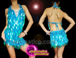 CHARISMATICO Blue Dazzling Engaging Sexy Diva Sequin Dress