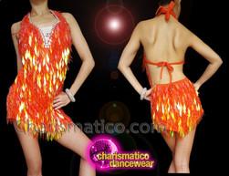 CHARISMATICO Ravishing Sensuous Glowing Orange Sequin Diva Dress