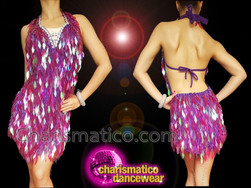 CHARISMATICO Engaging Beguiling Charming Purple Diva Sequin Dress