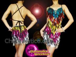 CHARISMATICO Sparkling Gorgeous Striking Diva Sequin Rainbow dress