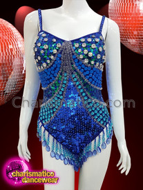 CHARISMATICO Blue sequinned leotard with blue fringes and large silver, blue and green crystals